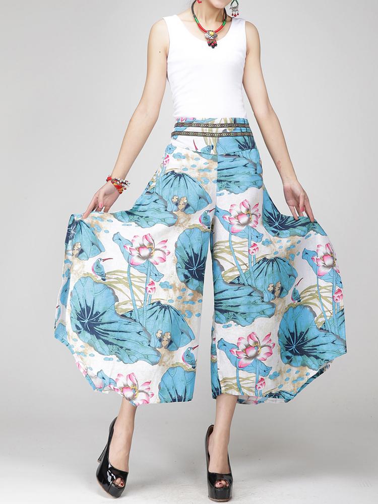 Buy 20 Styles Women Vintage Printed Wide Leg Casual Pants