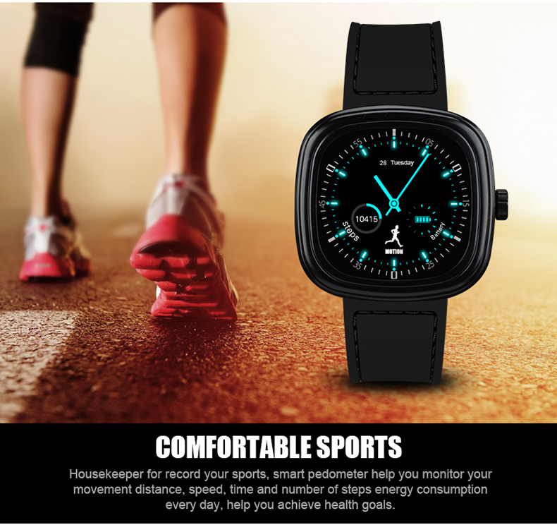 M2 Bluetooth 1.1Inch Message Show Heart Rate Monitor Pedometer Smartwatch for Iphone 7 Samsung S8