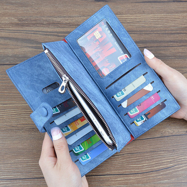 Women Denim Long Wallet Hasp Purse 10 Card Holder 5.5'' Phone Bags For Iphone Huawei