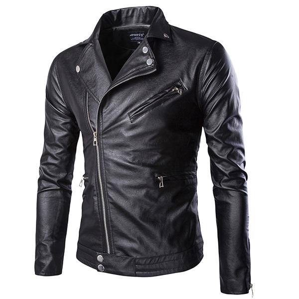 Mens Fall Winter Motorcycle PU Leather Stylish Fashion Jacket ...