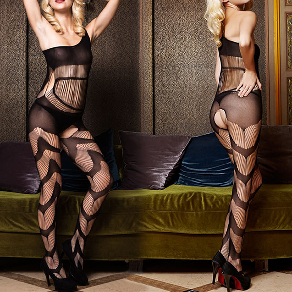 Sexy Crotchless Pantyhose One Shoulder Hollow Out Fishnet Temptation Bodystocking