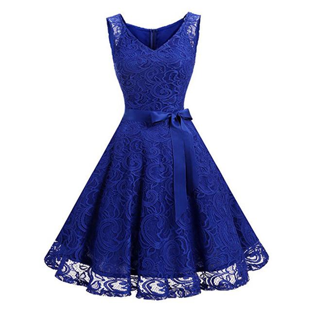 Supply New Season Sleeveless V-neck Tie With Large Lace Dress Jr201