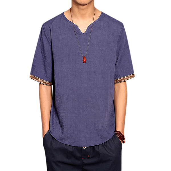971a652b5d4d7 Retro Chinese Style T-shirt Summer Men s Linen Solid Color V-neck Short  Sleeve