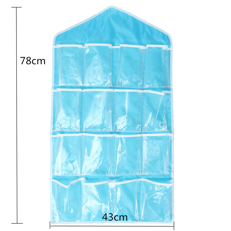 Storage Bag 16 Pocket Over Door Hanging Bag Shoe Socks Toys Hanger
