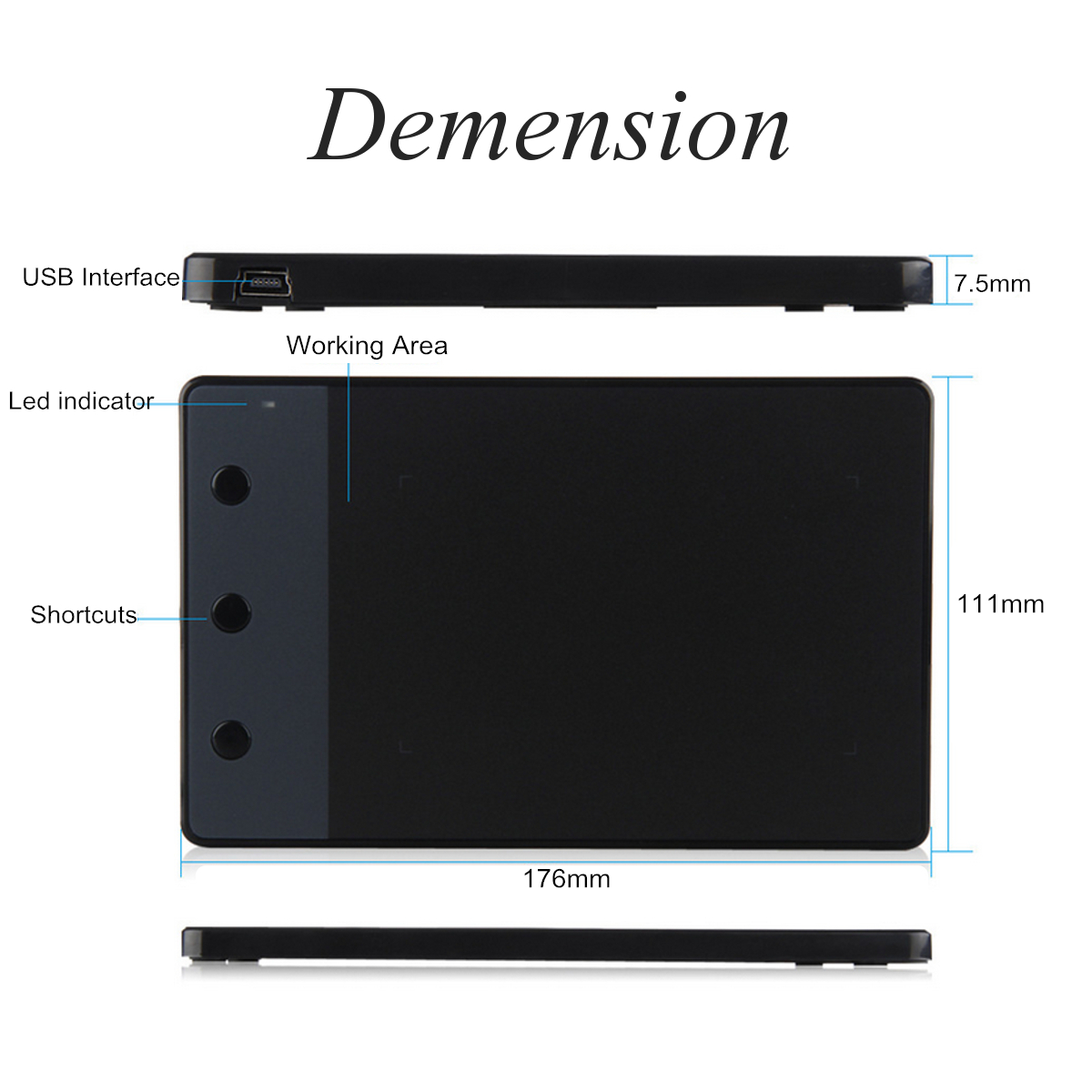 Huion H420 4 x 2.23 USB Art Design Graphics Tablet Drawing Pad with Digital Pen