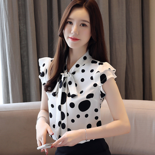 Shirt Female Foreign French Small Black And White Polka Dot Scarf Collar With Lotus Leaf Sleeve Chiffon Bottoming Shirt Was Thin And Wild