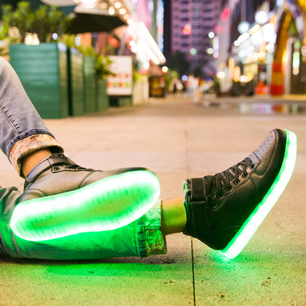 Unisex USB LED Light Lace Up Shoes High Top Luminous Sportswear Couple Sneakers