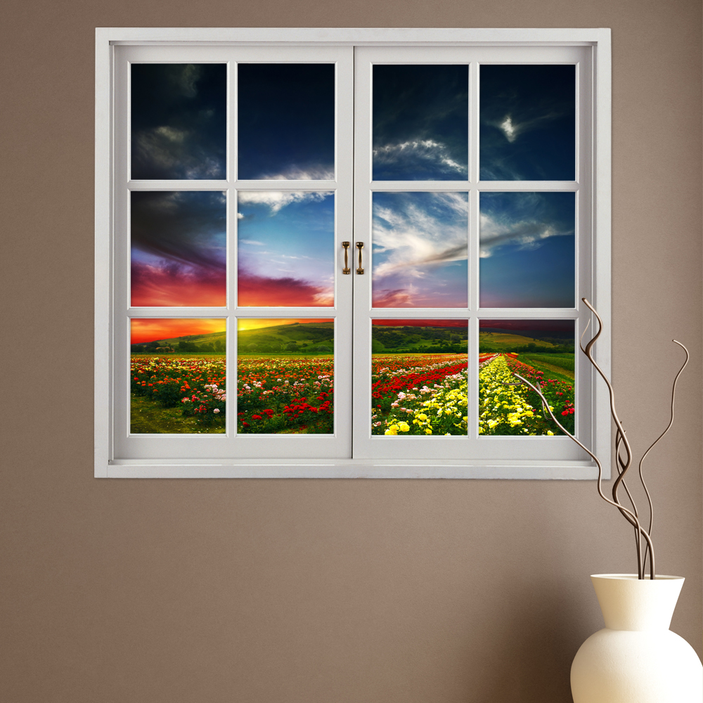 Buy Flower Hill 3D Artificial Window View PAG Wall Decals Room Stickers Home Decor Gift