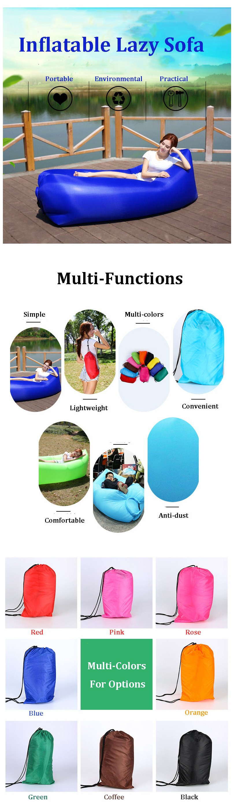 IPRee™ Outdoor Travel Square-Headed Lazy Sofa Fast Air Inflatable Sleeping Bed Lounger Camping Beach Lay Bag