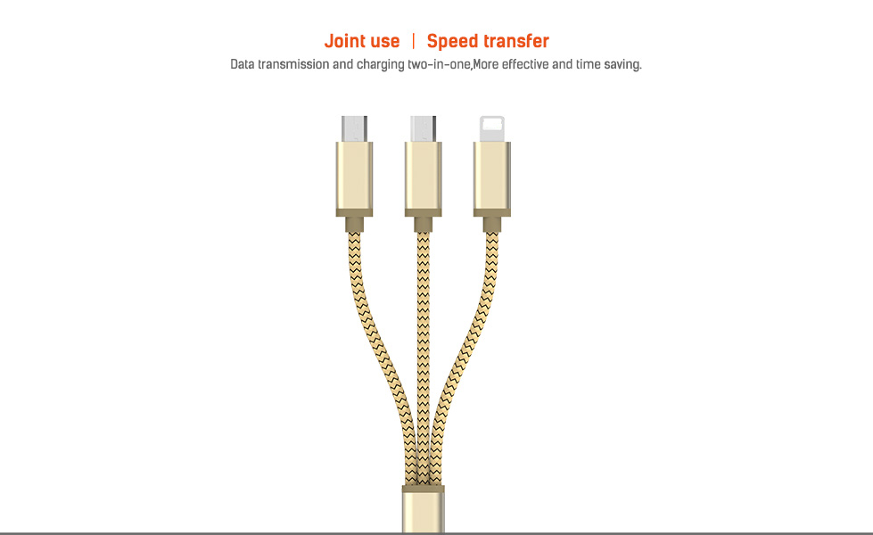 LDNIO LC85 Nylon 3 in 1 USB Cable with 2 Micro USB and 8 Pin Sync Data Cable