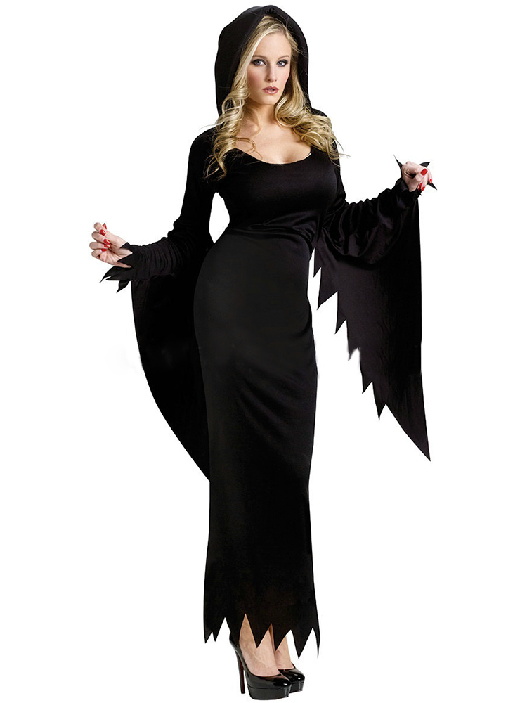 Halloween Costume Devil Of The Night Wandering Cosplay Costume Witch Long Black Party Dress
