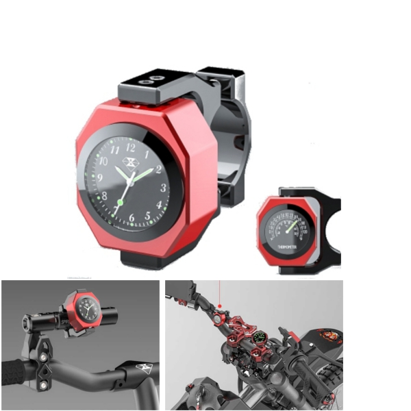 22-28mm Motorcycle Clock+Thermometer Luminous Waterproof Handle Bar Mount