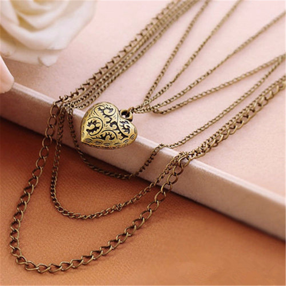Vintage Retro Bronze Multilayer Hollow Heart Necklace Sweater Chain
