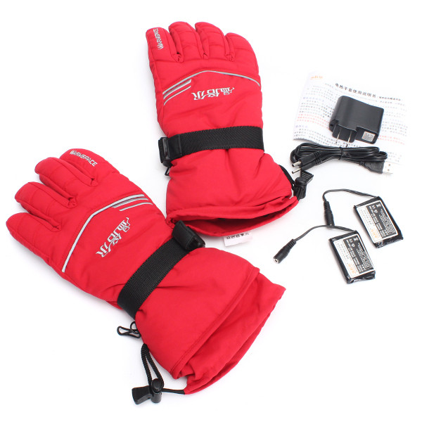3.7V 2000MA 45 Electric Heated Warmer Gloves Motorcycle Motorbike Outdoor Skiing Climbing Red M XL