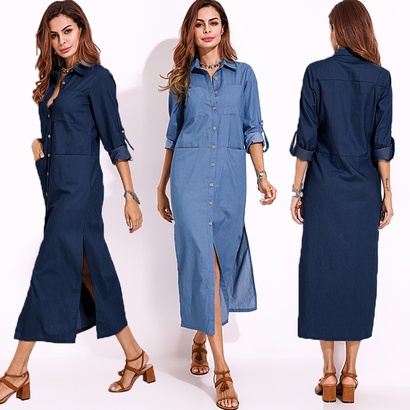 Elegant Women Turn-down Collar Long Sleeve Button Down Denim Shirt Dress