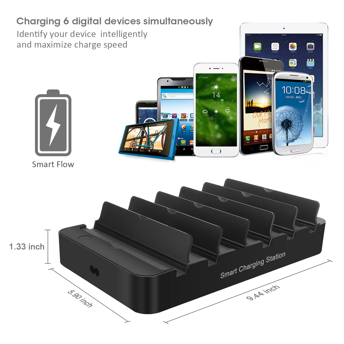 6-Port 60W USB Charger with QC 3.0 Smart IC Tech Fast ...