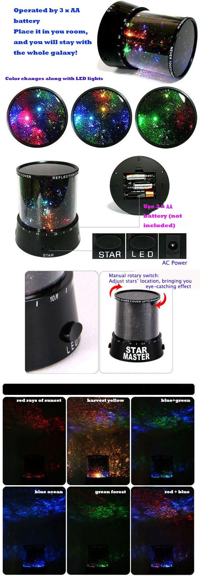 Star projector lamp night - Amazing Sky Star Cosmos Laser Projector Lamp Night Light