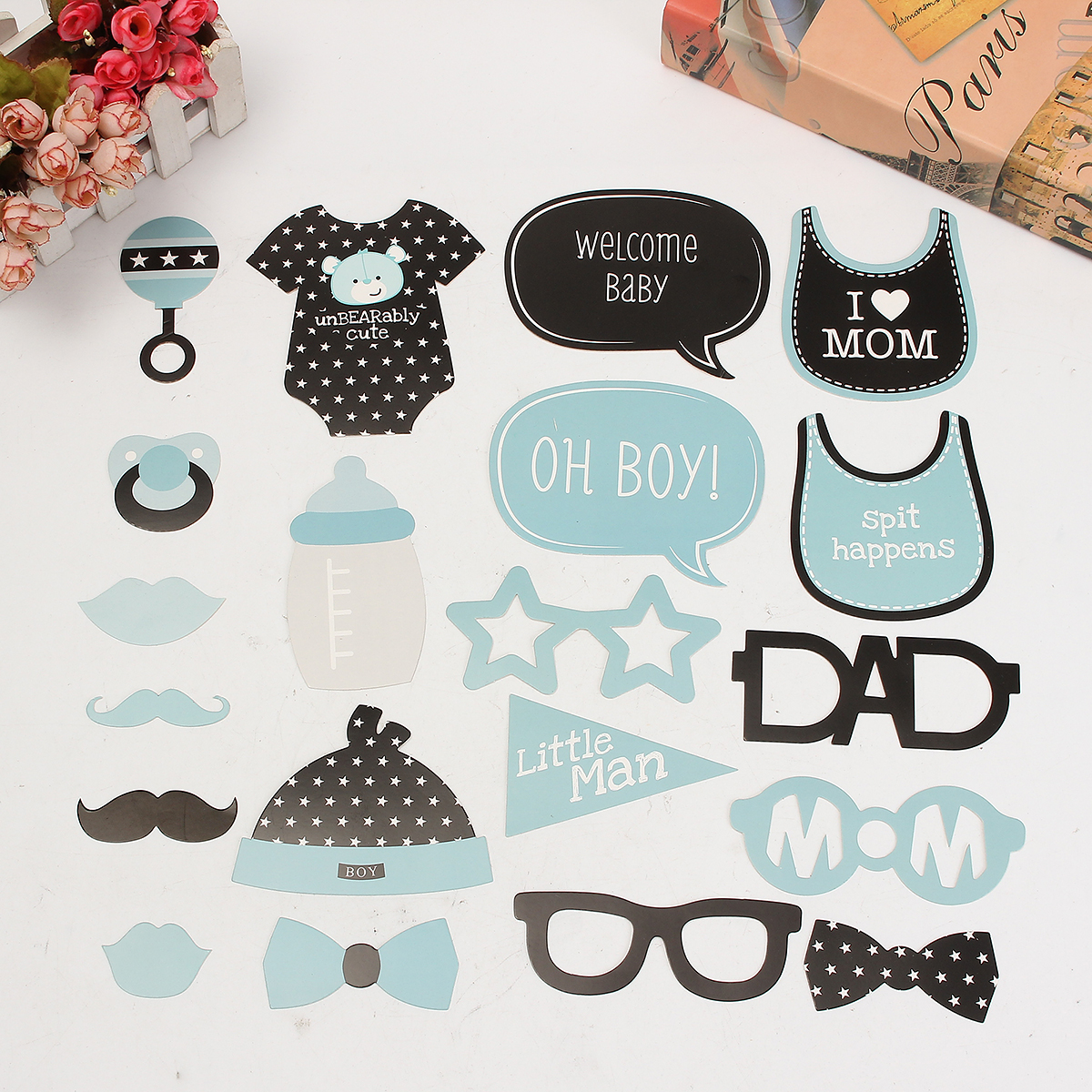 Baby Child Birthday Party Funny Interesting Photo Paper Beard Props - Photo: 1
