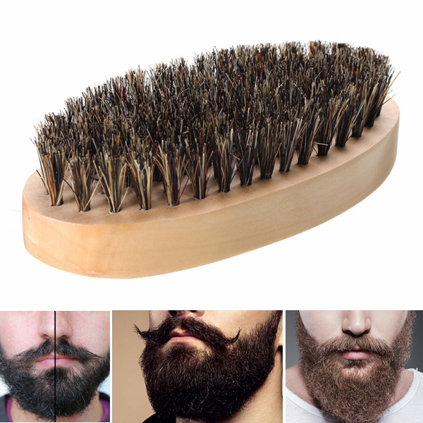 Boar Bristle Thickest Beard Taming Brushing Wooden PalmBrush