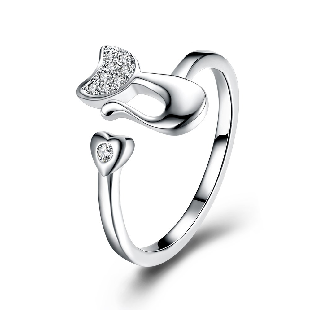 YUEYIN Fashion 925 Sterling Silver Plated Cat Heart Zircon Opening Adjustable Finger Rings for Women