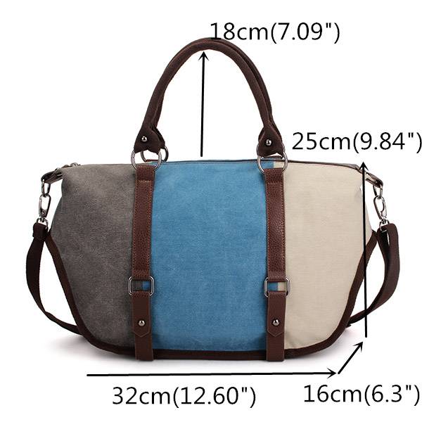 Women Casual Canvas Handbag Shoulder Bag Contrast Color Crossbody Bag