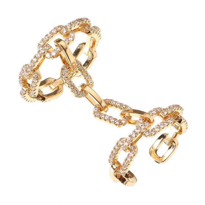 Orodequilatesyplatino plateado punky forma de la cadena Zircon brillante dos anillos vinculados