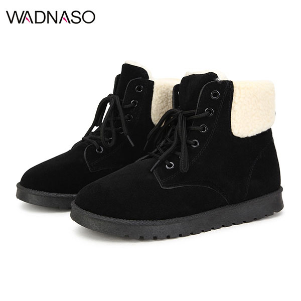 WADNASO Women Snow Boot Keep Warm Plush Suede Outdoor Ankle Short Comfortable Boots