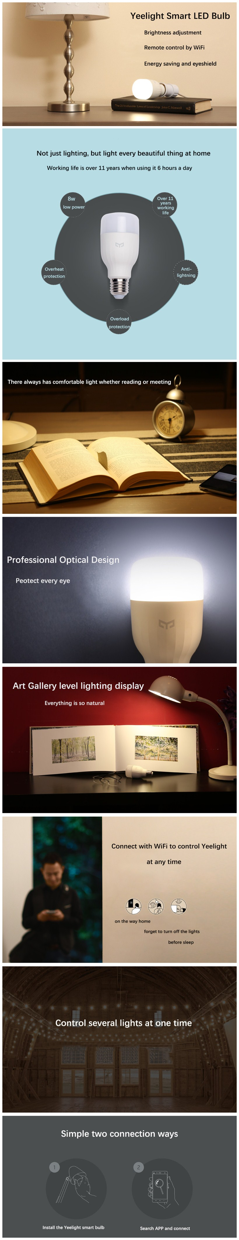 original xiaomi yeelight e27 smart white led bulb dimmable wifi