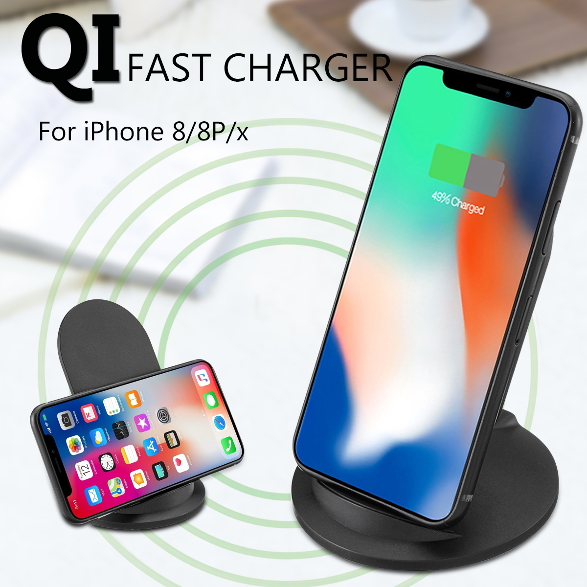 chargers wireless qi fast charger stand pad for iphone 8. Black Bedroom Furniture Sets. Home Design Ideas