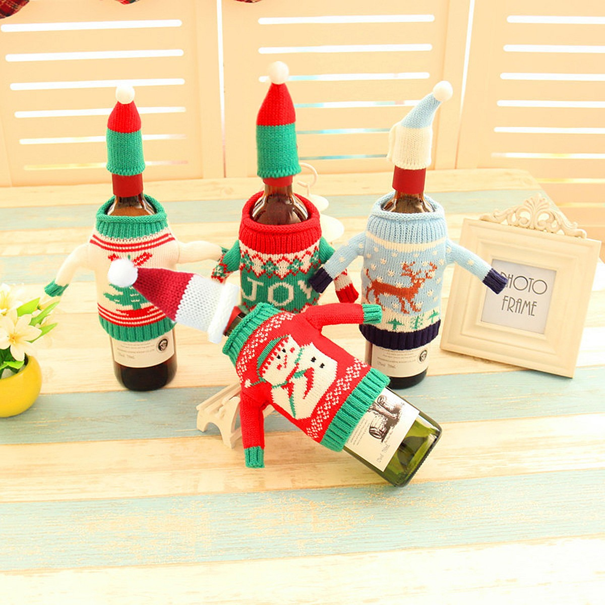 Christmas Knitted Sweater Lid Hat Wine Bottle Cover Wrap Bag Xmas Decoration - Photo: 1