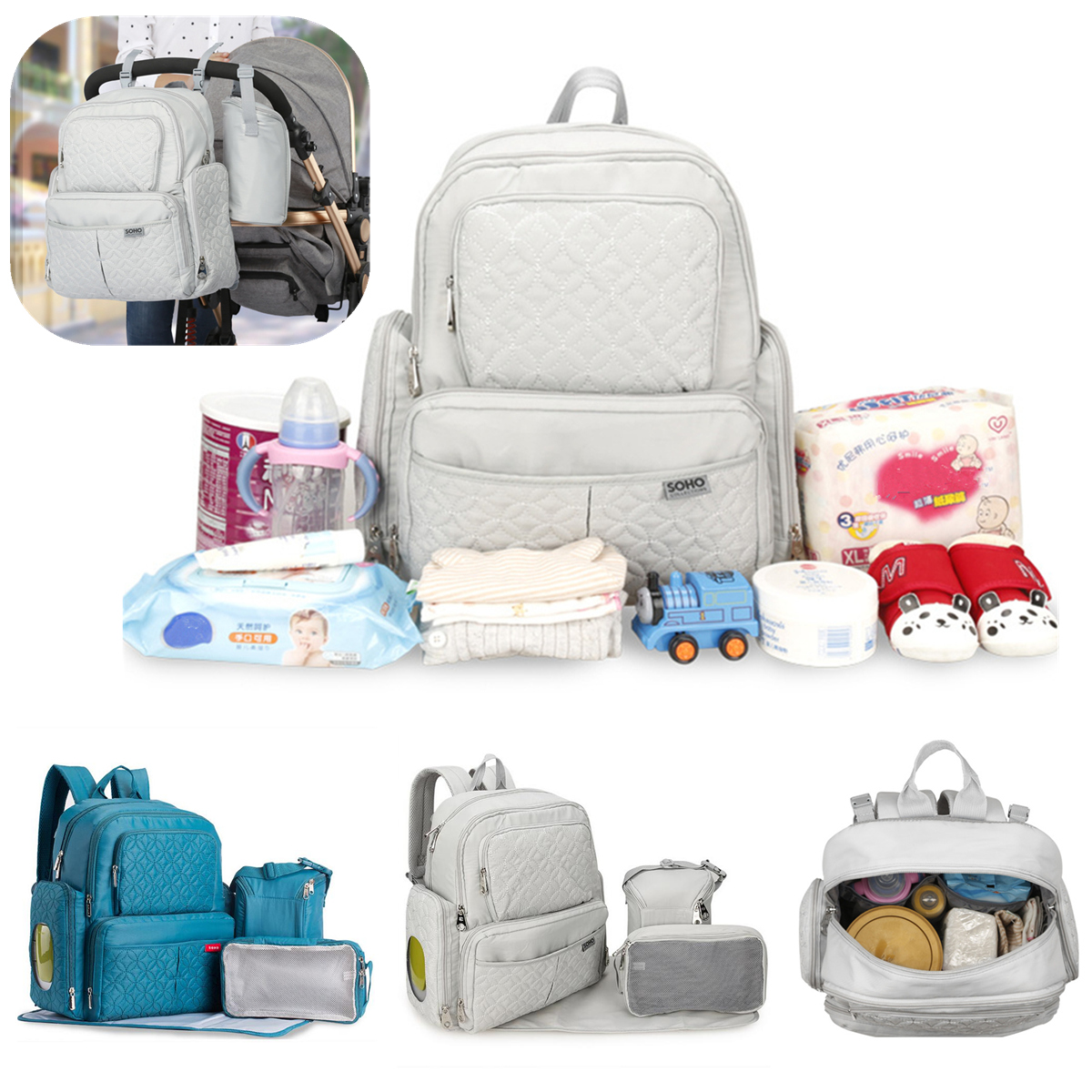 other accessories soho multifunctional diaper bag mummy backpack baby diaper backpacks. Black Bedroom Furniture Sets. Home Design Ideas
