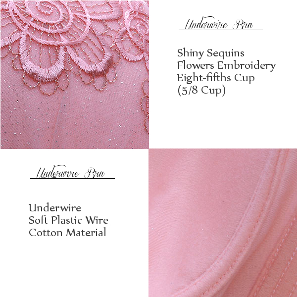 23bd108320061 Sexy Lace Flowers Embroidery Deep V Sequins Bra Underwire Push Up Elegant  Bra For Women