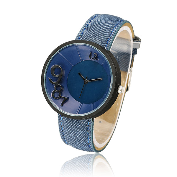 Casual Men Women Irregular Numbers Canvas Band Analog Quartz Watch