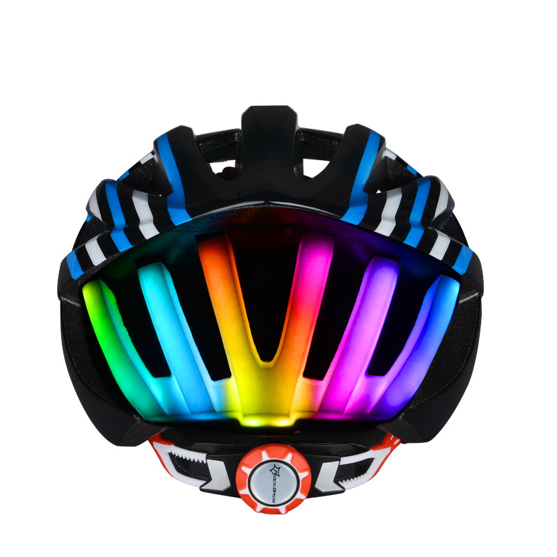 ROCKBROS Rainbow Lights ciclismo casco de bicicleta ultraligero MTB Road Bike flash linterna casco