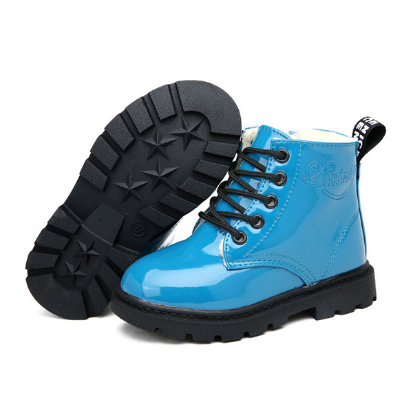 Children Unisex Winter Plush Warm Waterproof PU Leather Casual Boots