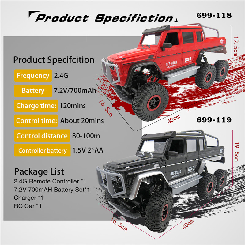 Flytec RC Car 1/10 4CH 6WD Rock Crawler 6x6 Driving Truck Double Motors Big Foot Off-Road Model Toys