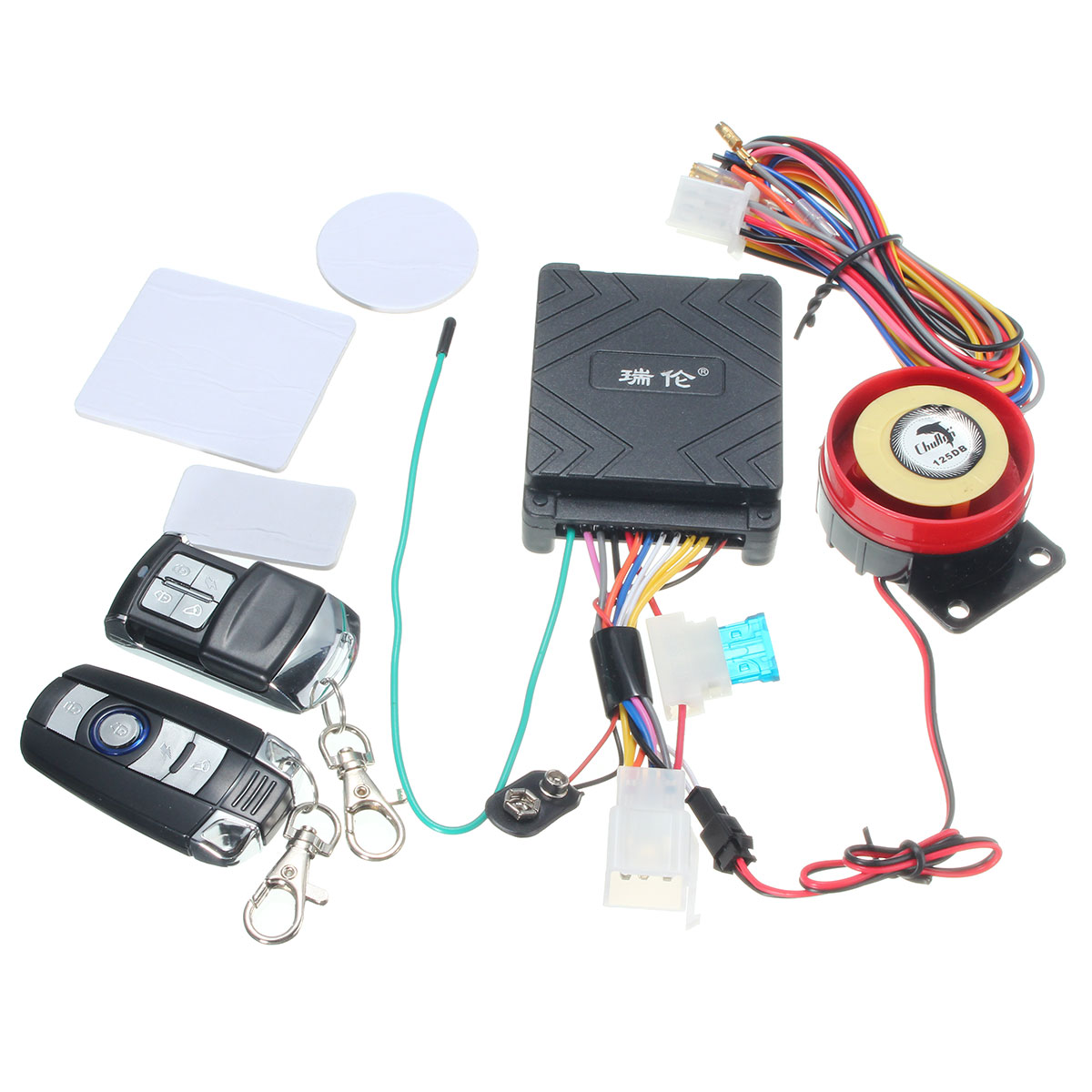 12v 125db Motorcycle Scooter Security Alarm System Anti Theft Remote View Mobile Dvr With Shock Sensor And Wifi Power Adapter 1 X High Siren Brain Module Built In 2 Controls Connection Cables 3 Stickers