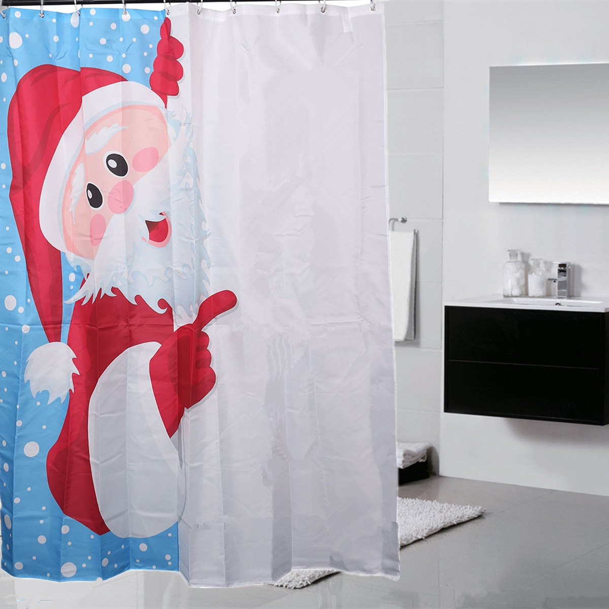 150x180cm 3D Santa Claus Waterproof Shower Curtain Bathroom ...