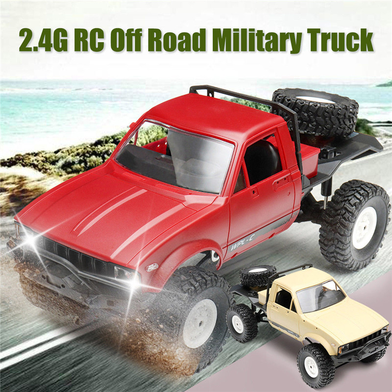 WPL C14 1/16 2.4G 4WD Off Road RC Military Car Rock Crawler Truck With Front LED RTR Toys