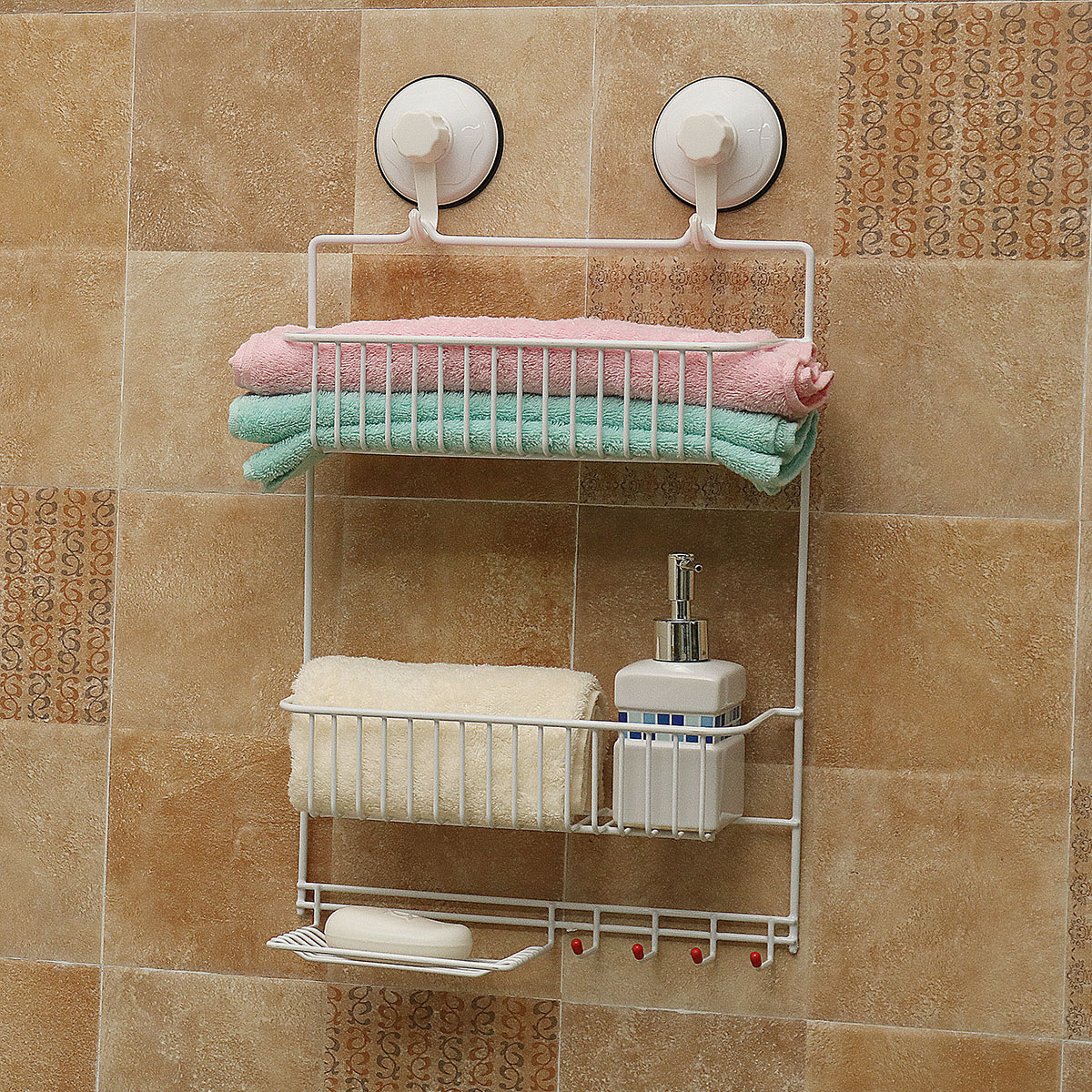 White 2 Tier Wall Shelf Concise Bathroom Wall Mounted Storage Rack With Hooks