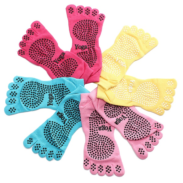 1 Pair Anti Skid Slip 5 Fingers Toe Full Grip Yoga Socks Pilates Gym Exercise Fitness Massage