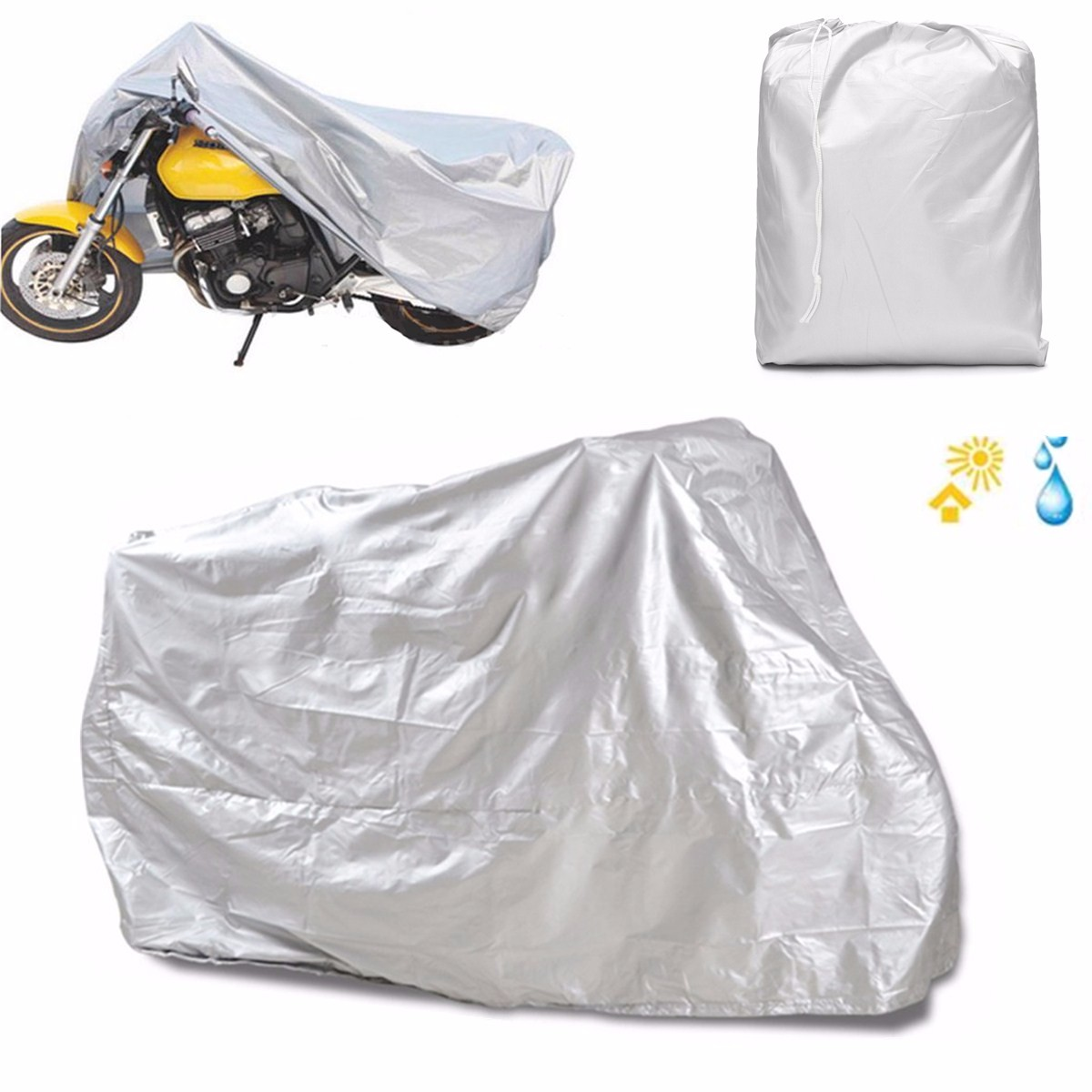 Motorcycle Rain UV Dust Cover Dust Bike Protector XXL Silver