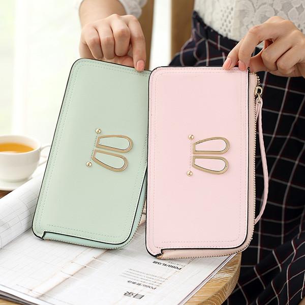 Women Rabbit Ear Clutches Bags Zipper Long Wallet Card Holder 5.5'' Phone Purse For Iphone 7Plus