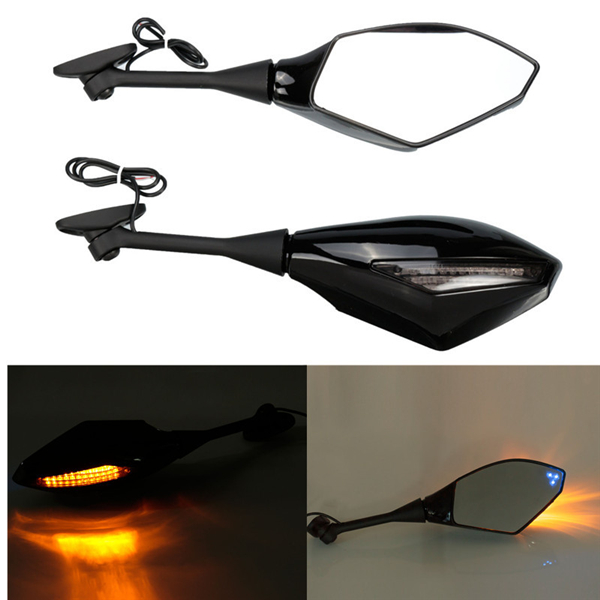 Blue Design LED Turning Signal Mirrors For Honda Suzuki Kawasaki Ducati
