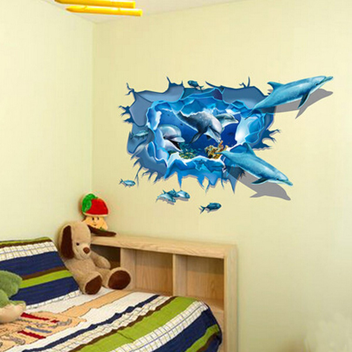 Dolphin 3d sea ocean removable mural vinyl wallpaper - 3d vinyl wandtattoo ...