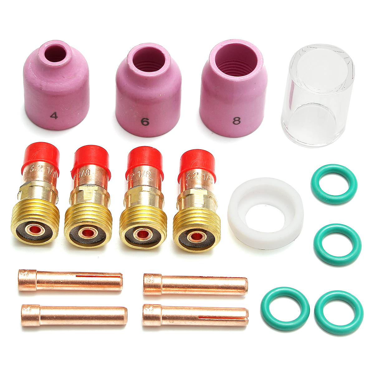 17Pcs TIG Stubby Gas Lens Ceramic Nozzle & Glass Cup Ki
