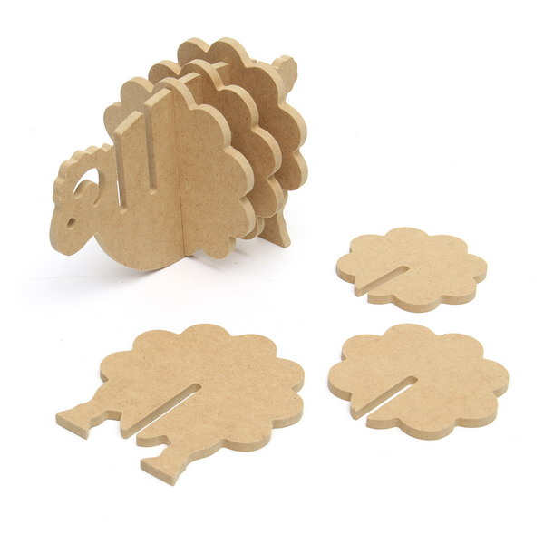 Wooden Non-slip Coasters Simple Sheep Shapes Home Office Decor