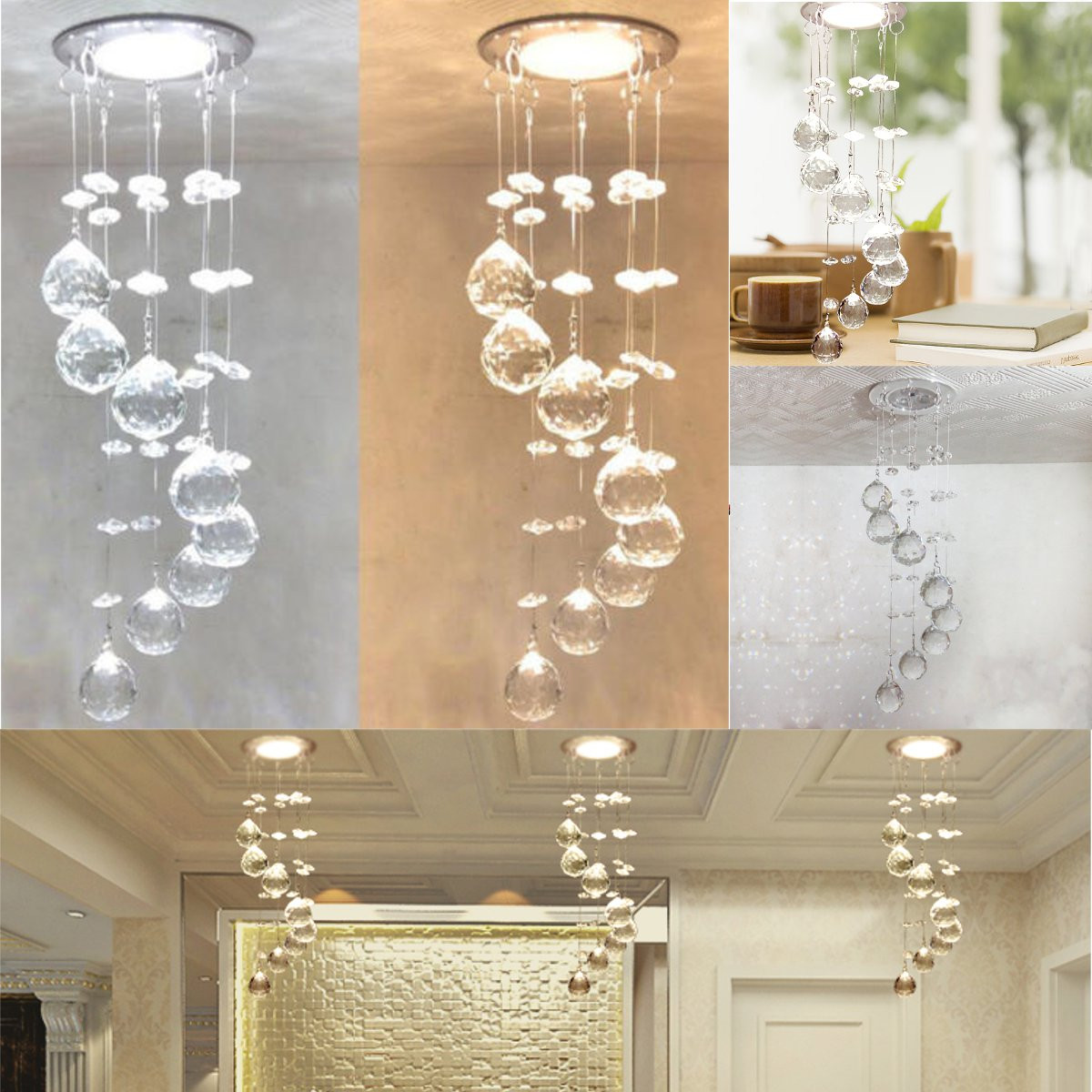 Buy 3W LED Crystal Concealed Ceiling Light Small Chandelier Lamp Pendant Hallway