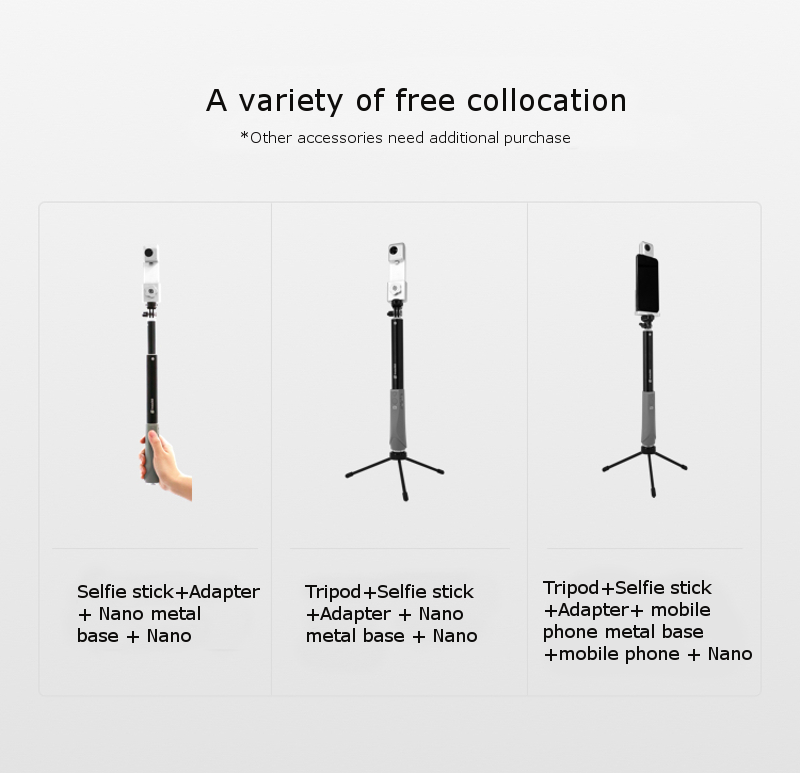 Insta360 1.2m Bluetooth Extendable Aluminium Selfie Stick Handheld Gimbal for Android/iOS Smartphone