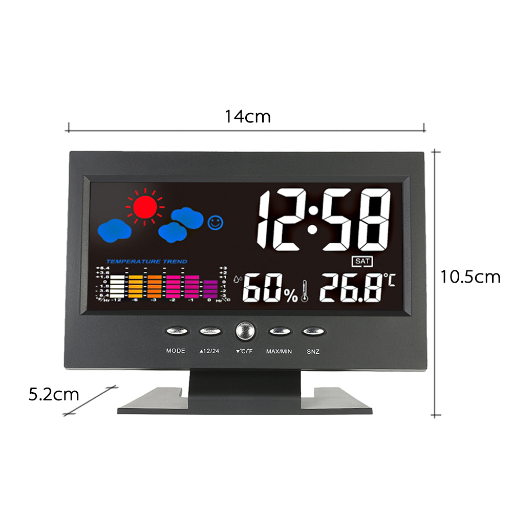 Loskii DC-001 Digital Wireless Colorful Screen USB Backlit Weather Station Thermometer Hygrometer Alarm Clock Temperature Gauge Calendar Vioce-Activated